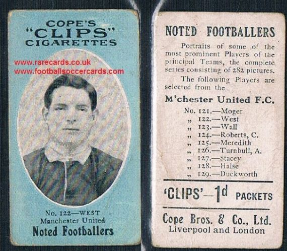 1909 Cope's Clips 2nd series Noted Footballers, 282 back, 122 West Man Utd